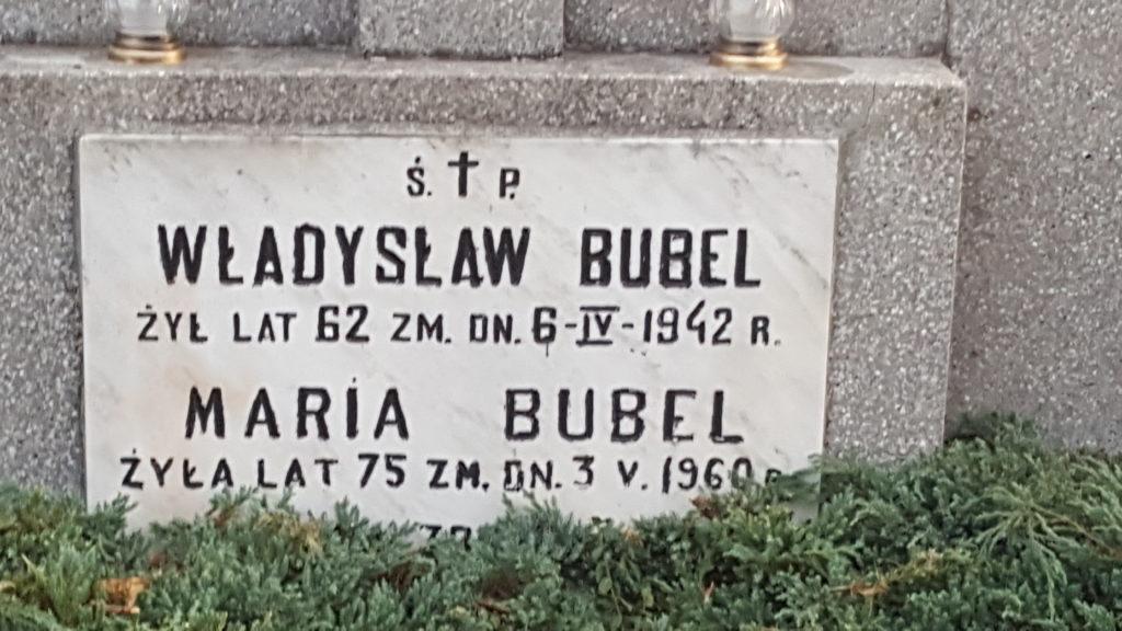 Nagrobek dziadków ze strony ojca Karola, Marii i Władysława Bubel