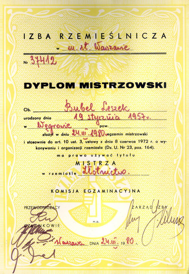 Leszek Bubel - Dyplom Mistrzowski