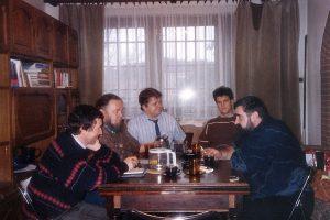 Spotkanie Janusza Rewińskiego w domu Leszka Bubla z dziennikarzami